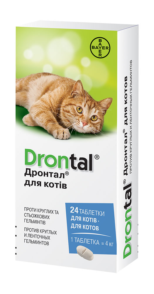Drontal – таблетки для лікування і профілактики гельмінтів у котів