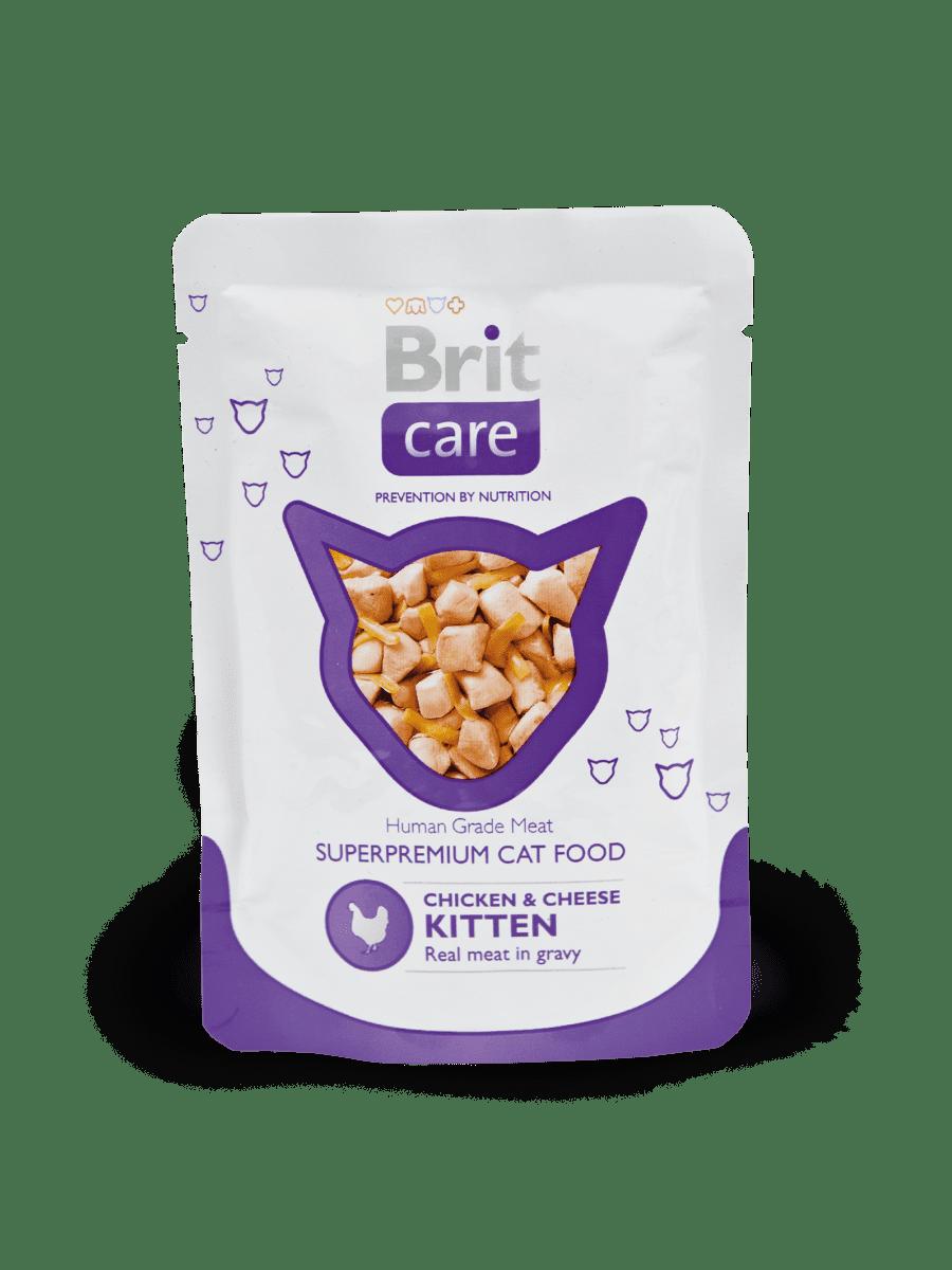 BRIT CARE CHICKEN & CHEESE KITTEN POUCH –консервы с кусочками курицы и сыра для котят
