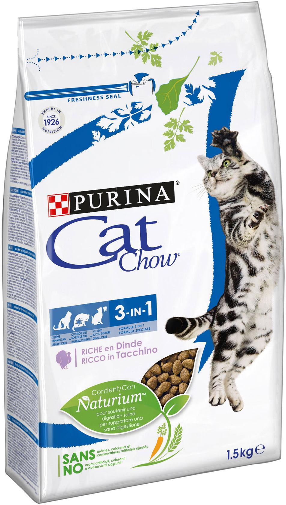 CAT CHOW Special Care 3in1– сухой корм с индейкой для взрослых котов