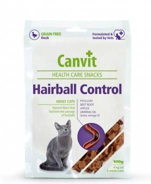 CANVIT Hairball Control – напіввологі ласощі для дорослих котів для виведення шерсті зі шлунку