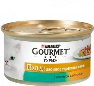 GOURMET Gold Duo консерва з кроликом та печінкою для дорослих котів