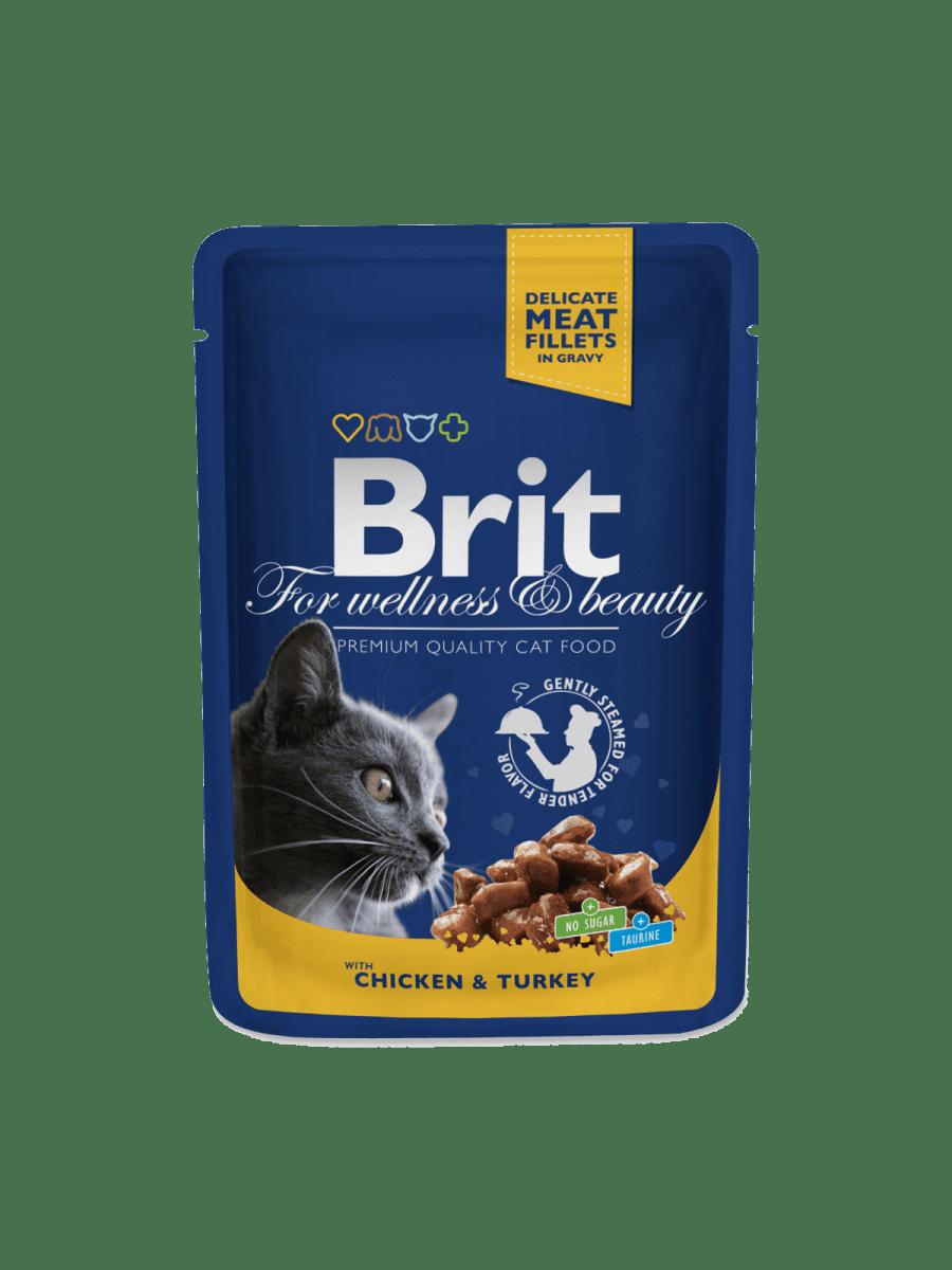 BRIT PREMIUM POUCHES WITH CHICKEN & TURKEY – вологий корм з куркою та індичкою для котів