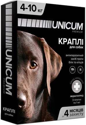 Unicum premium краплі від бліх і кліщів на холку для собак вагою от 4 кг до 10 кг (імідаклоприд)