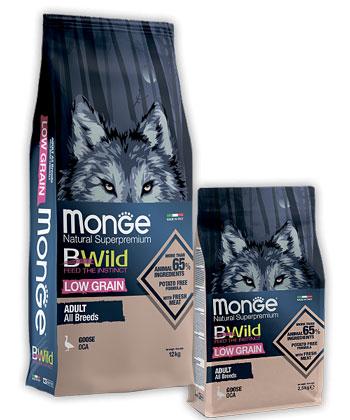 MONGE DOG BWILD LOW GRAIN GOOSE – сухой низкозерновой корм из мяса гуся для взрослых собак всех пород