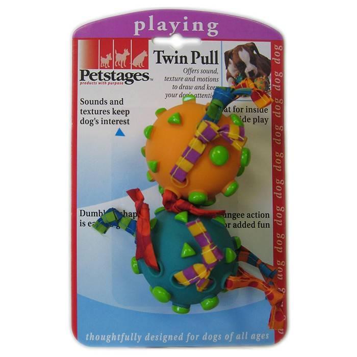 PETSTAGES TWIN PULL – игрушка, два мяча на канате, для собак