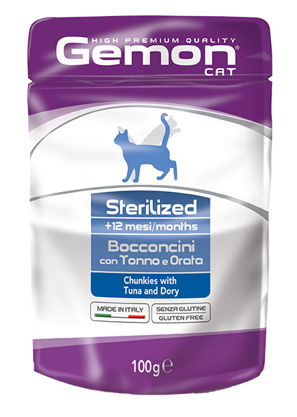 Gemon Sterilized Chunkies with Tuna and Dory – консерви з тунцем та дорі для стерилізованих котів