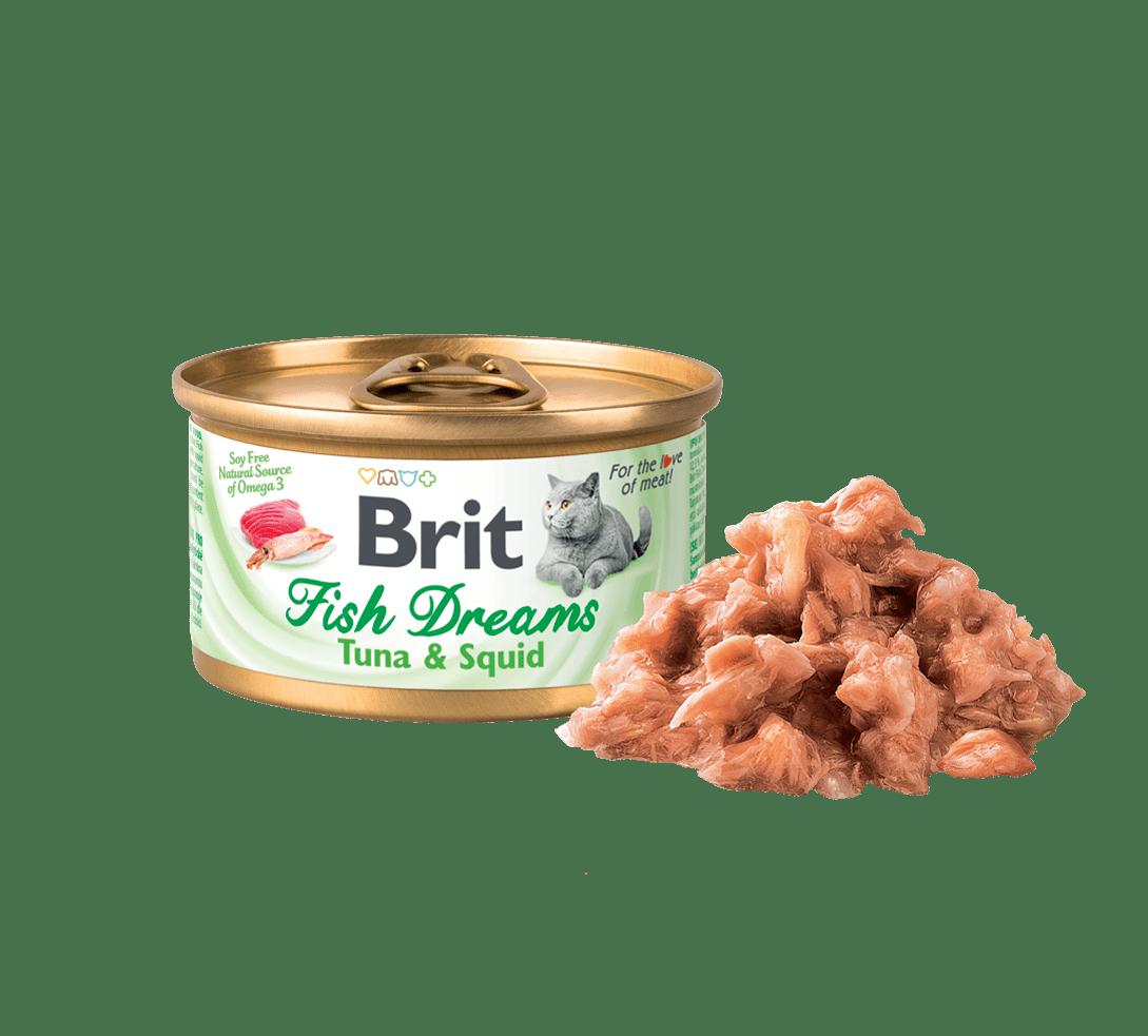 BRIT FISH DREAMS TUNA & SQUID – консерви з тунцем і кальмаром для дорослих котів