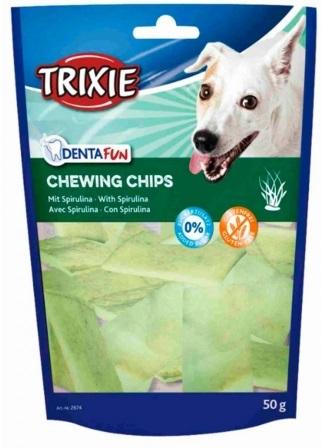 Trixie DENTAFUN Chewing Chips лакомство со спирулиной для собак