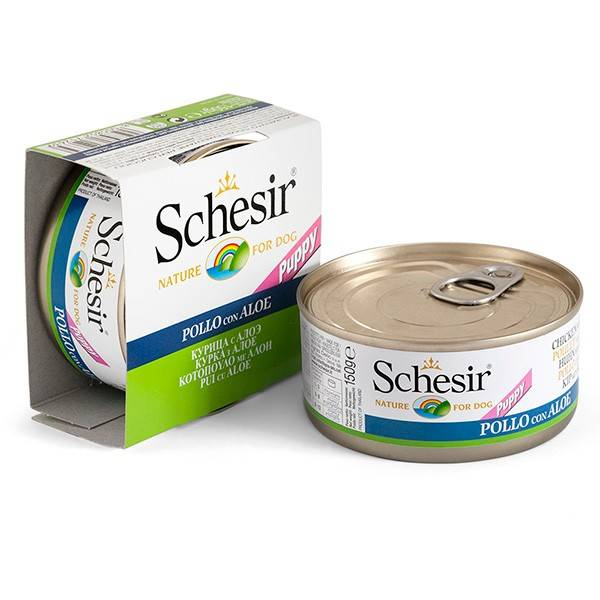 Schesir Chicken Aloe Puppy – консерви з куркою і алое для цуценят усіх порід