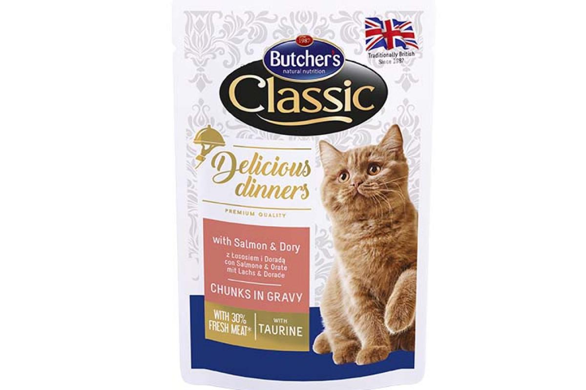 Butcher's Cat Delicious – вологий корм із лососем і дорі для дорослих котів