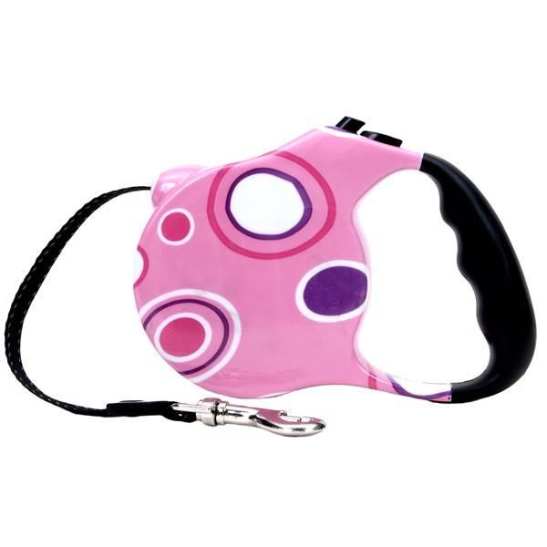 FASHION WALKER поводок-рулетка для собак малых и средних пород, розовая