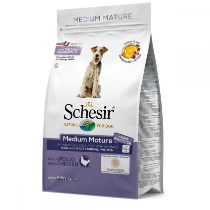 Schesir Dog Medium Mature  – сухой монопротеиновый корм для пожилых собак