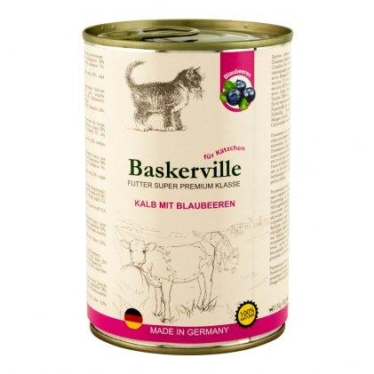 Baskerville консервы с кусочками телятины и черникой для котят
