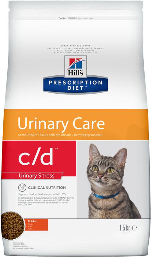 HILL'S Feline C / D Multicare Stress – лечебный сухой корм для кошек для поддержания здоровья мочевыводящих путей кошек и снижение стресса