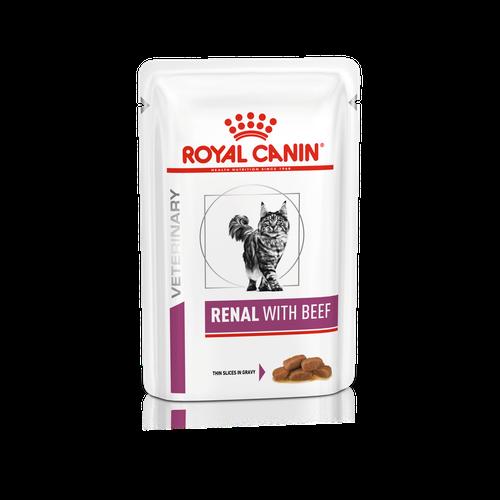 ROYAL CANIN RENAL FELINE with Beef Pouches – лікувальний вологий корм із яловичиною для дорослих котів із нирковою недостатністю