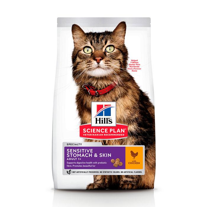 HILL'S SCIENCE PLAN ADULT SENSITIVE STOMACH & SKIN – сухой корм для взрослых котов с чувствительной кожей и пищеварением