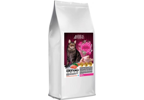 Home Food с лососем и индейкой – сухой корм для взрослых котов