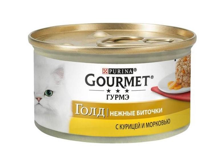 GOURMET Gold Chicken &  Carrot – консерва с курицей и морковью для взрослых котов
