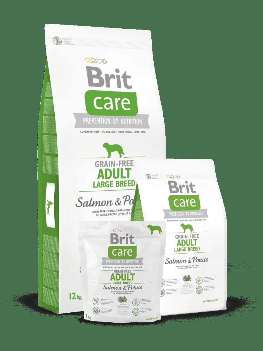 BRIT CARE GRAIN FREE ADULT LARGE BREED SALMON & POTATO – сухой корм с лососем и картофелем для взрослых собак больших и гигантских пород