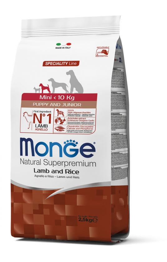 Monge Mini Puppy & Junior Lamb – сухой корм с ягненком для щенков мелких пород собак