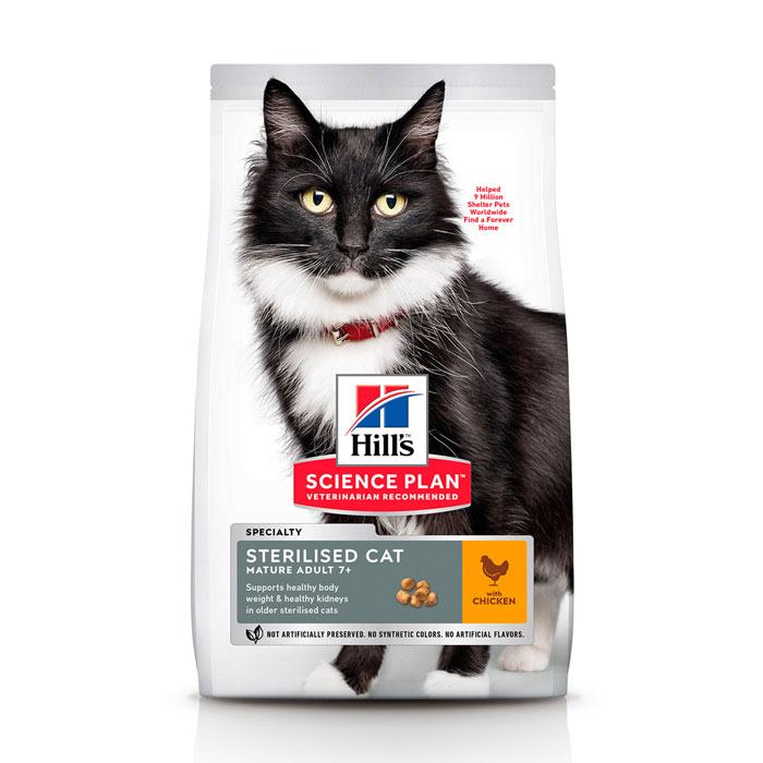 HILL'S SCIENCE PLAN MATURE ADULT 7+ STERILISED CAT – сухой корм с курицей для стерилизованных кошек старше 7 лет