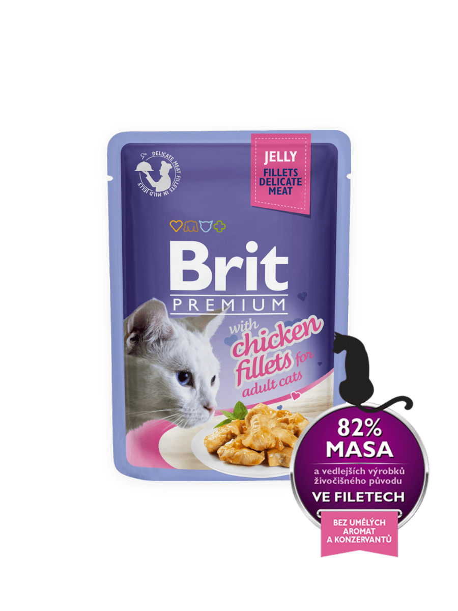 BRIT PREMIUM WITH CHICKEN FILLETS IN JELLY – влажный корм, кусочки курицы в желе, для взрослых котов
