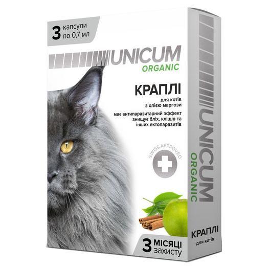 UNICUM ORGANIC – капли на натуральной основе для отпугивания блох и клещей для котов