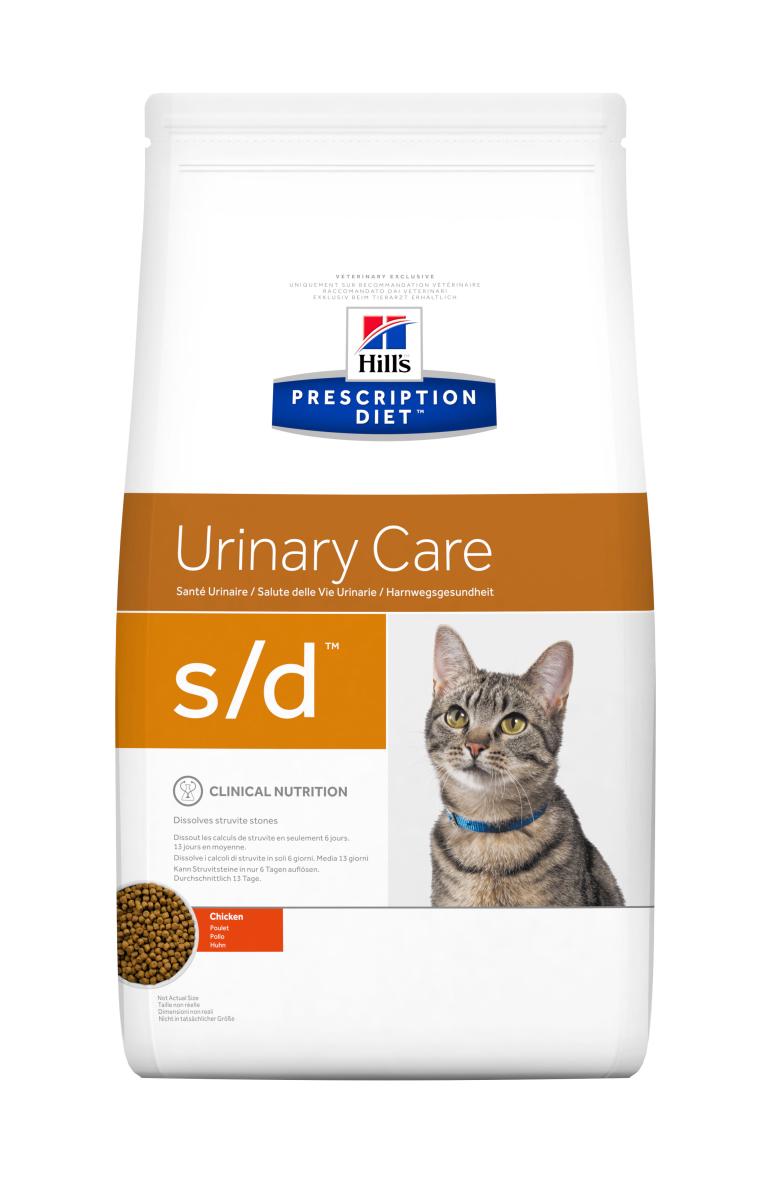 HILL'S PRESCRIPTION DIET S/D URINARY CARE – лечебный сухой корм для котов для растворения струвитных камней и минералов