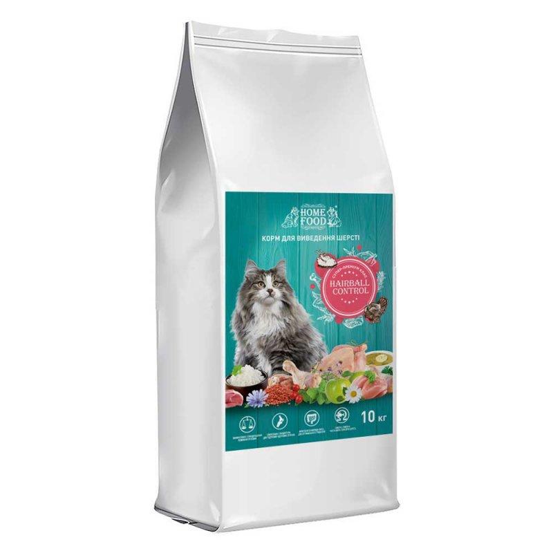 Home Food с индейкой, уткой и курицей – сухой корм для кошек для вывода шерсти из желудка