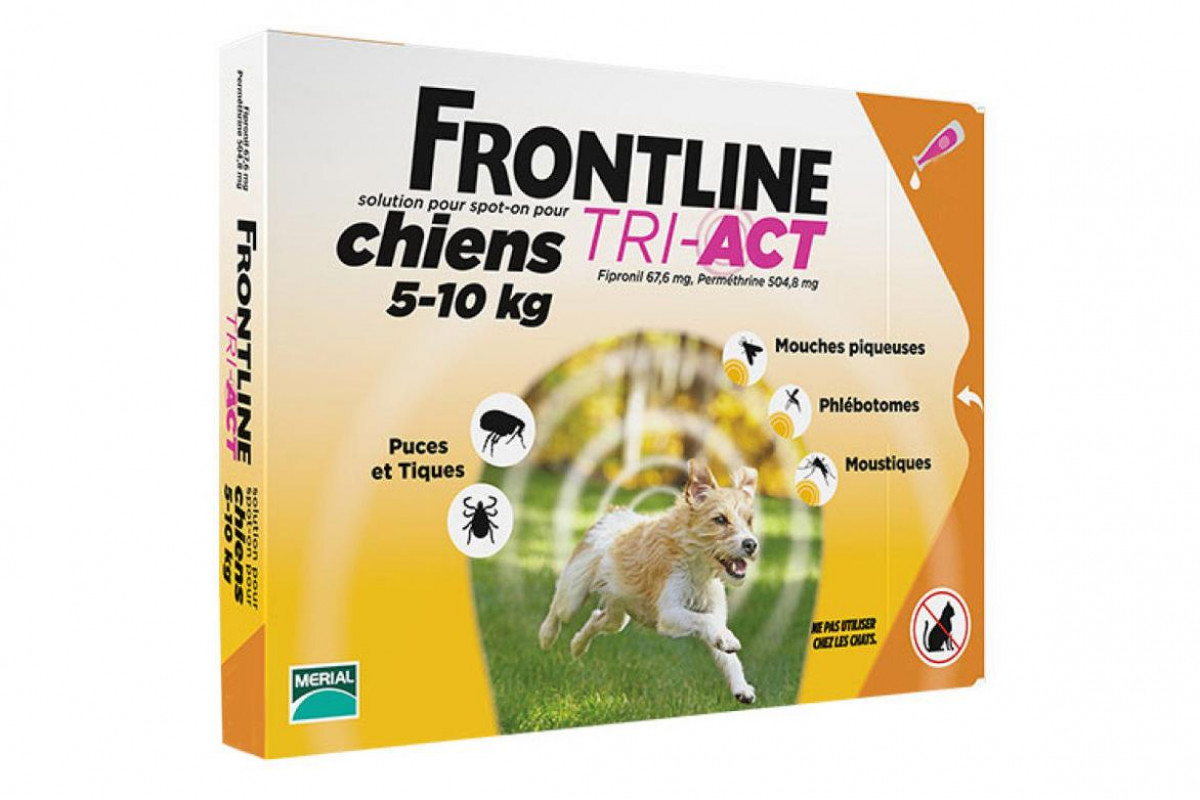 Frontline TRI-ACT капли от блох и клещей для собак весом от 4 кг до 10 кг