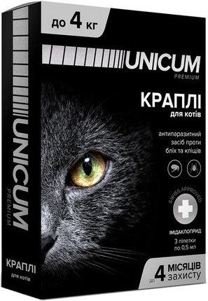 Unicum premium краплі від бліх і кліщів на холку для котів масою 0-4 кг (імідаклоприд)