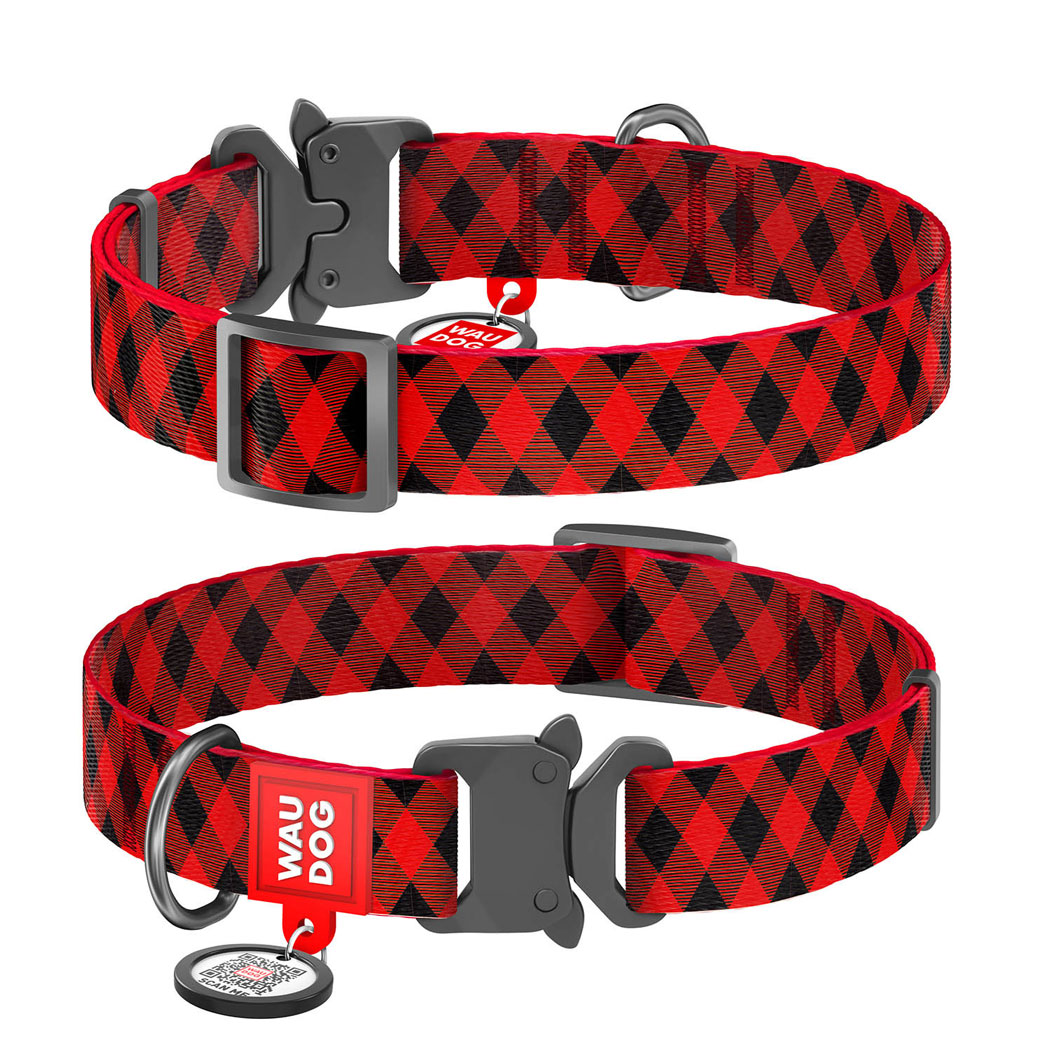 """WAUDOG Nylon """"Шотландка червона"""" нейлоновий нашийник для собак із застібкою-фастексом"""