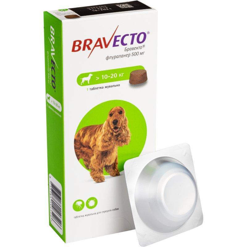 Bravecto жевательтые таблетки от блох и клещей для собак весом от 10 до 20 кг