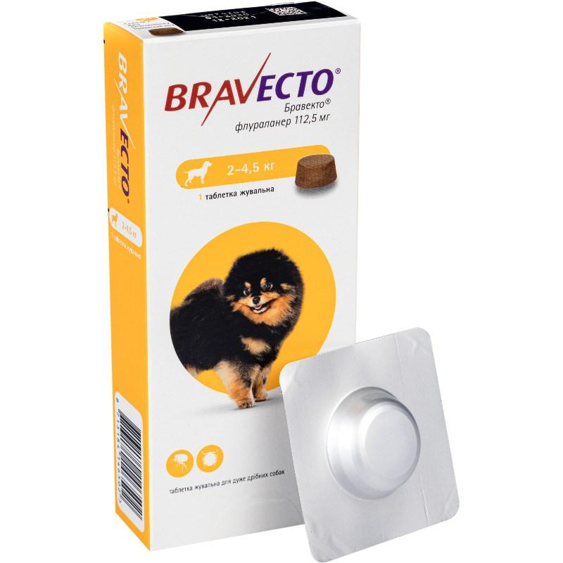 Bravecto жувальні таблетки від бліх і кліщів для собак вагою від 2 до 4,5 кг