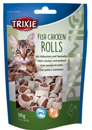 Trixie Premio Fish Chicken Rolls – лакомство для котов с курицей и сайдой