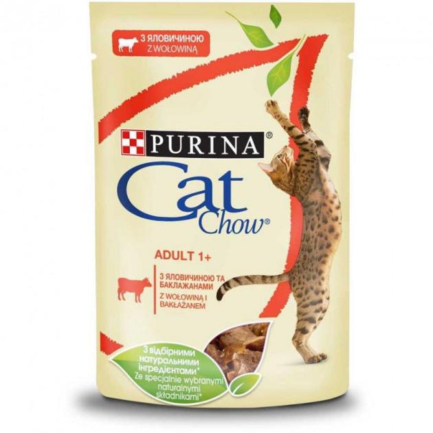 CAT CHOW консерва с говядиной и баклажанами для взрослых котов