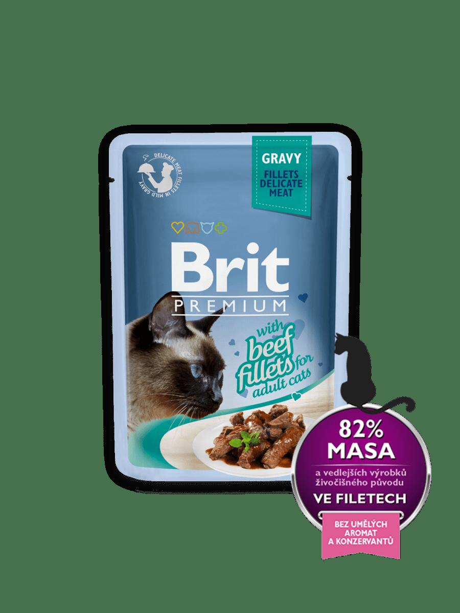 BRIT PREMIUM WITH BEEF FILLETS IN GRAVY – вологий корм, шматочки яловичини в соусі, для дорослих котів