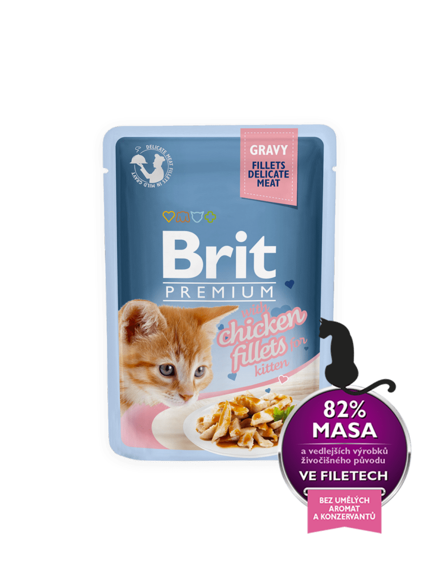 BRIT PREMIUM WITH CHICKEN FILLETS IN GRAVY FOR KITTEN – вологий корм, шматочки курки в соусі, для кошенят