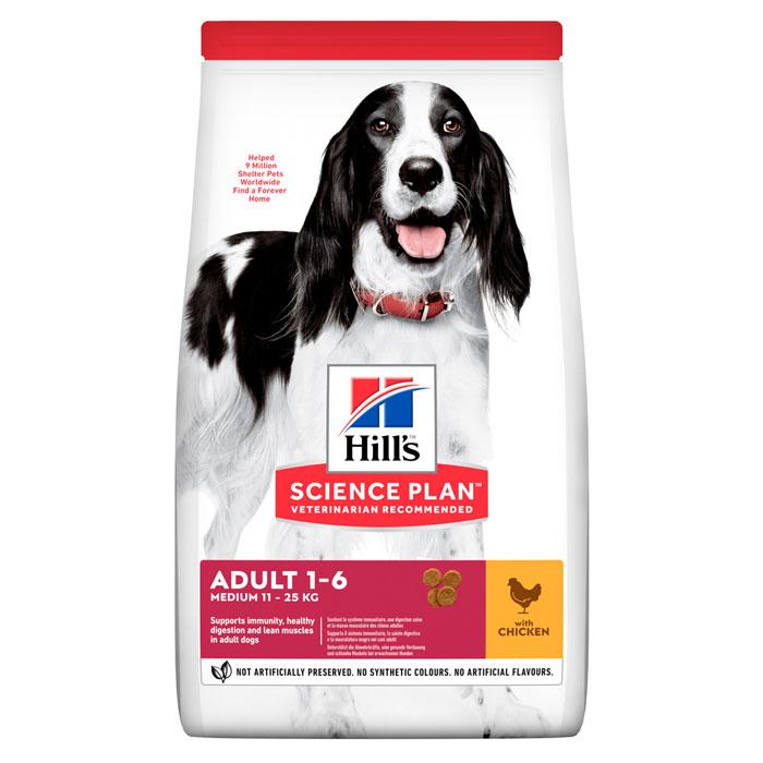 HILL'S SCIENCE PLAN ADULT MEDIUM сухой корм с курицей для взрослых собак средних пород с курицей