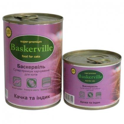 Baskerville консервы с уткой и индейкой для взрослых котов