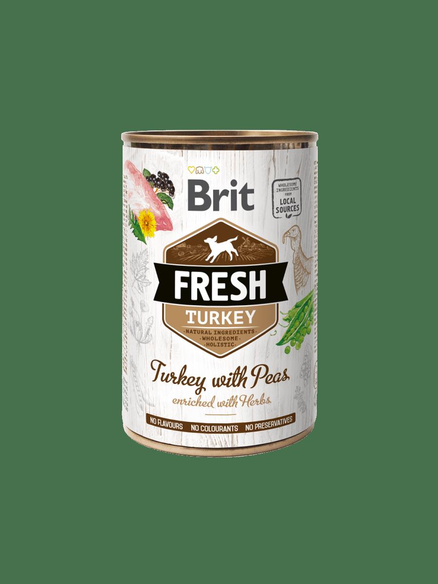 BRIT FRESH TURKEY WITH PEAS – вологий корм з індичкою та горохом для дорослих собак