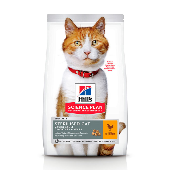 HILL'S SCIENCE PLAN YOUNG ADULT STERILISED CAT сухой корм с курицей для стерилизованных кошек