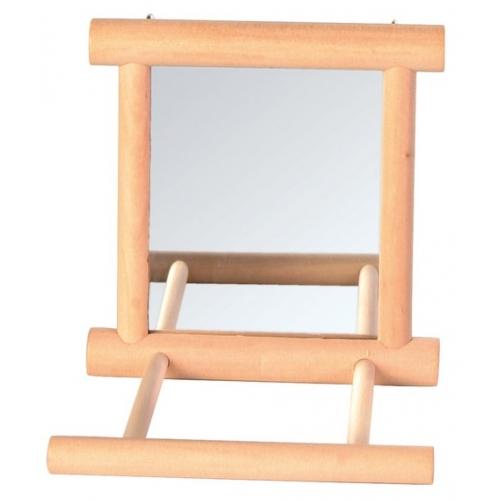 Trixie зеркало с перекладиной из дерева для попугая
