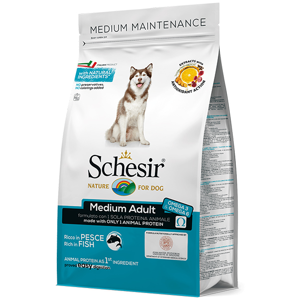 Schesir Dog Medium Adult Fish – сухой монопротеиновый корм с рыбой для собак cредних пород