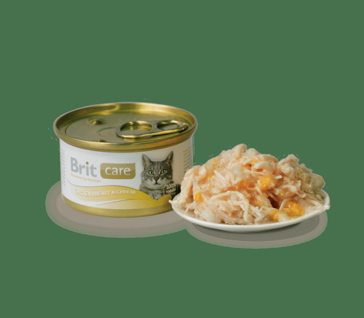 BRIT CARE CAT CHICKEN BREAST & CHEESE – консервы с куриным филе и сыром для взрослых котов