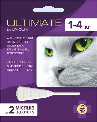 ULTIMATE капли от блох, клещей, вшей и власоедов для кошек массой 1-4 кг