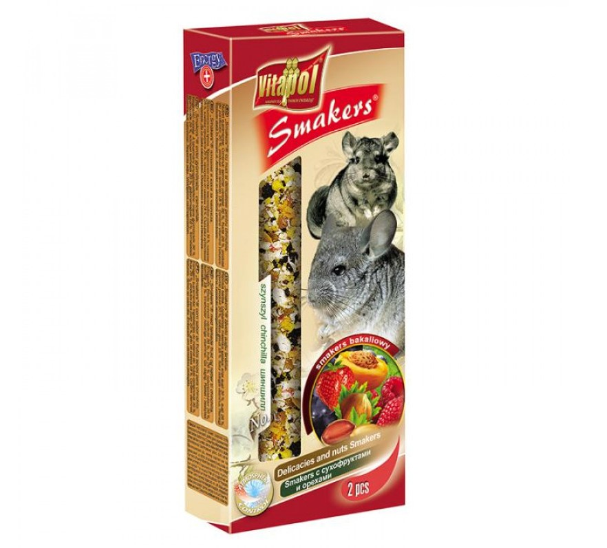 Vitapol Smakers ласощі для шиншил із сухофруктами і горіхами