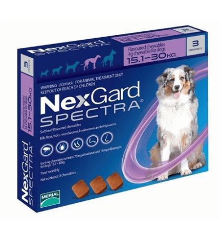 NexGard Spectra таблетки против паразитов для собак весом от 15,1 кг до 30 кг