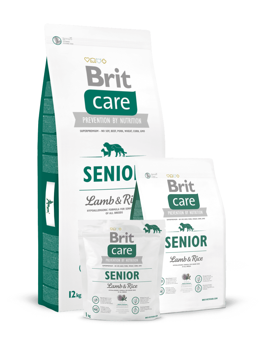 BRIT CARE SENIOR LAMB&RICE – гипоаллергенный сухой корм с ягненком и рисом для пожилых собак