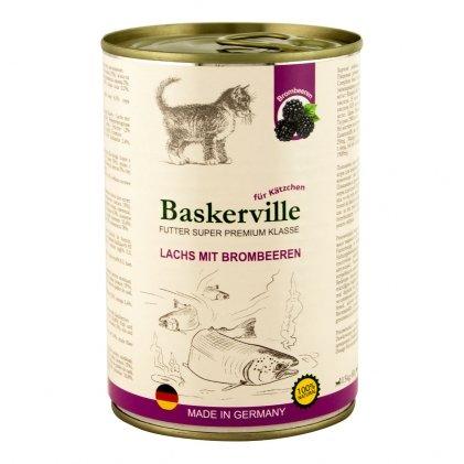 Baskerville консервы с лососем и черникой для котят